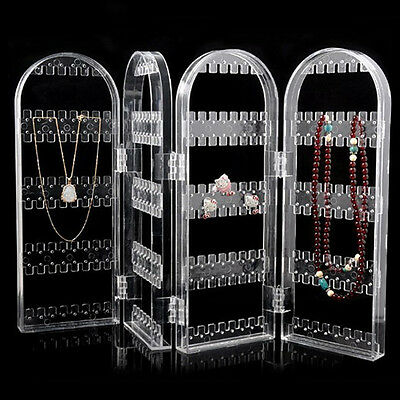 Earrings Necklace Studs Organizer - Acrylic Folding Jewelry Holder Rack Display