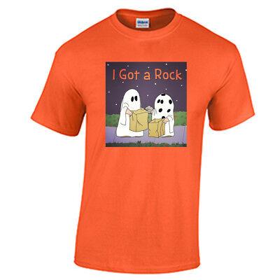 I Got A Rock T Shirt Halloween Funny Humor Trick or Treat Costume Orange Tee - I Got A Rock Halloween