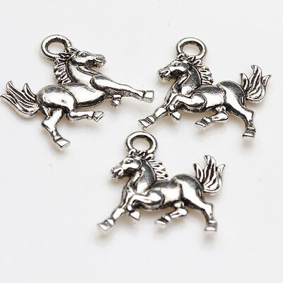 Horse Charms Pendants - 25/50Pcs Tibetan Silver Carved Horse Running Charms Jewelry Pendants 15*14mm