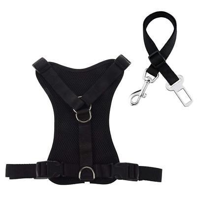 Padded Dog Harness, Adjustable Mesh Pet Vest Harness with Vehicle Car Seat Belt