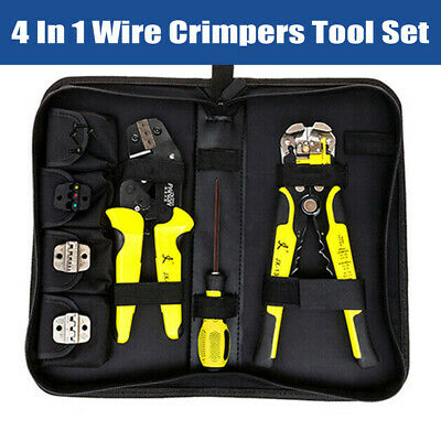 4 In1 Auto Wire Stripper Crimper Pliers Ratcheting Terminal Crimping Tool Kit