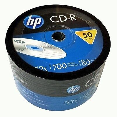Hp Blank Cd R Cdr Logo Branded 52X 700Mb 80Min Recordable Media Disc