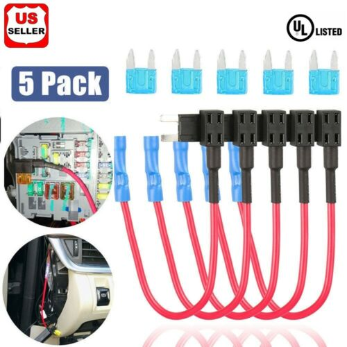 5 Pack 12V 15Amp Car Add-a-circuit Fuse TAP Adapter Kit, Mini ATM APM Blade Fuse Car Audio & Video Installation