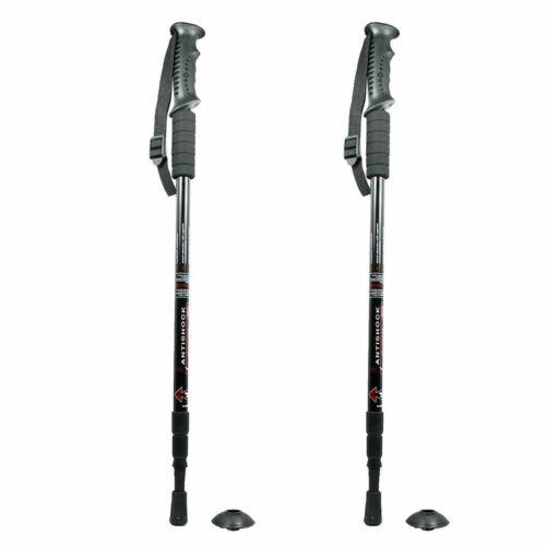 Pair of 2 Trekking Walking Hiking Sticks Anti-shock Adjustable Alpenstock Poles