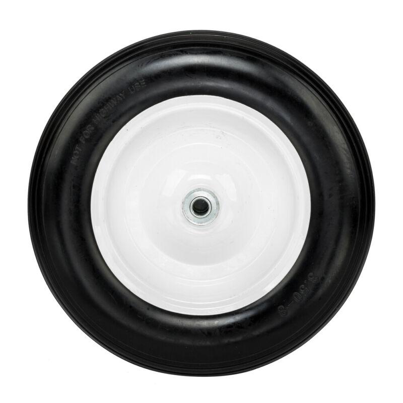 "14.2"" Flat Free Wheel Barrow Wheelbarrow Tire Solid Foam 5/8 Axle Cart Wagon PU"
