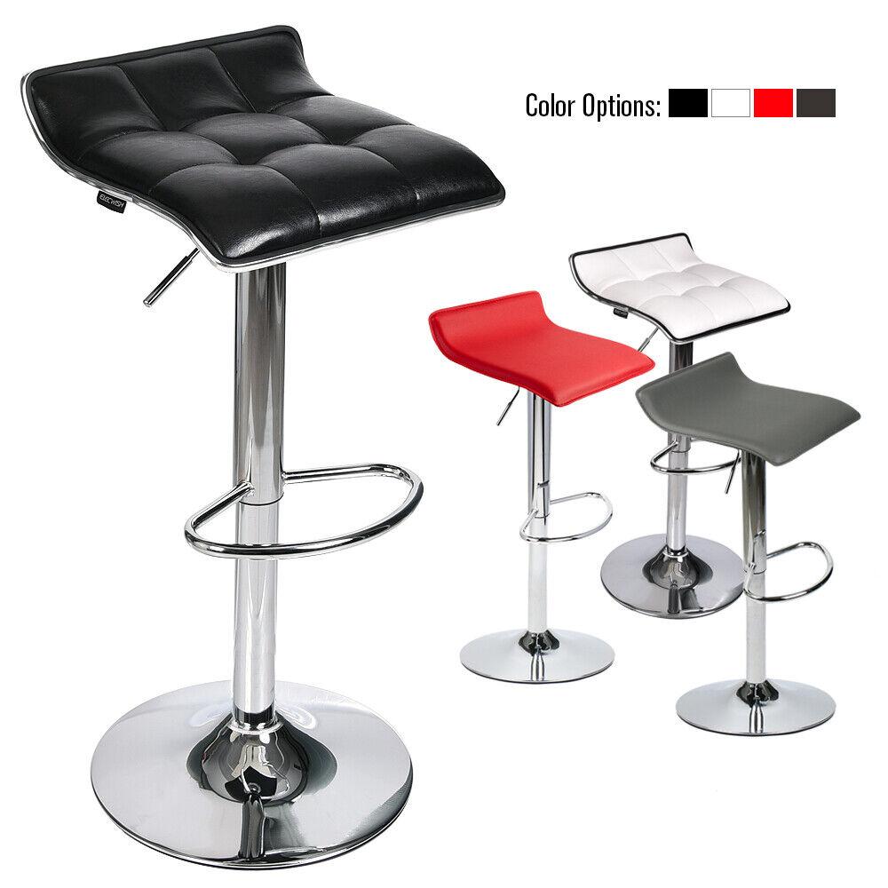 Set Of 2 Bar Stools Pub Chairs Adjustable PU Leather Swivel