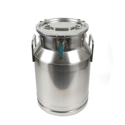 30l Heavy-gauge Stainless Steel Milk Can Pail Bucket Jug Tea Canister Bucket Us