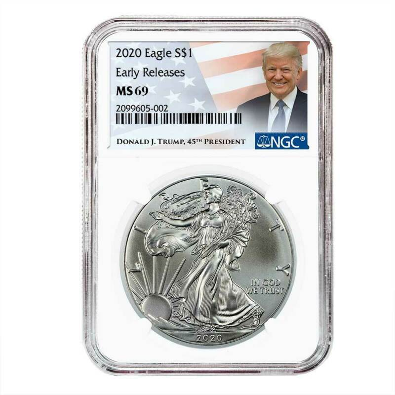 Presale - 2020 $1 American Silver Eagle NGC MS69 ER Trump Label