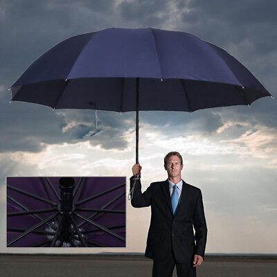 60 inch Large Umbrella Men/Women Three Folding Anti-UV Windproof Rain Umbrella