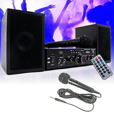 Hifi Stereo Musik Anlage Lautsprecher Verstärker Bluetooth USB SD MP3 Mikrofone