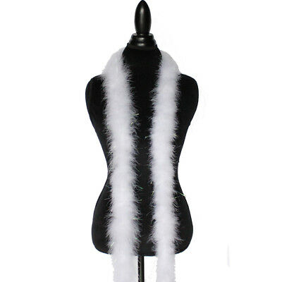 - White w/ Lurex Tinsel 22 Grams Marabou Feather Boa 6 Feet Long Sewing Trim