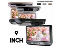 "9"" Flip Down Car Roof Ceiling Screen Monitor with DVD USB SD Player & Games in BLACK GREY or BEIGE"
