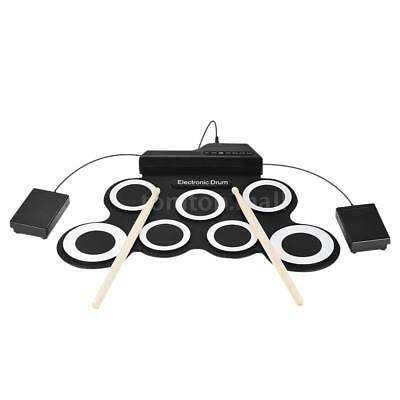 ctronic Roll Up Drum Set Kit w/ Drumsticks Foot Pedals R4L9 (Drumsticks Electronic Drums)
