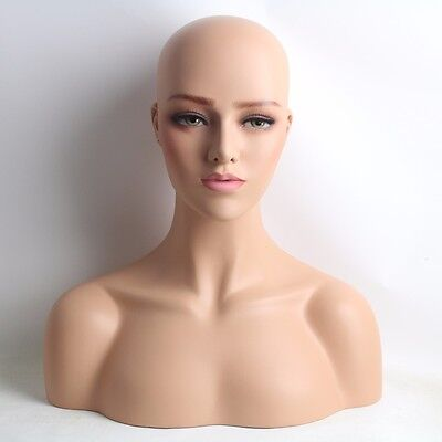 Realistic Female Fiberglass Mannequin Head Bust For Wigs