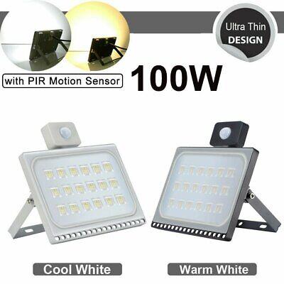 LED Floodlight 10/20/30/50/100W PIR Sensor Garden Lighting Security Flood Light