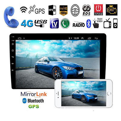 "10.1"" HD Android 9.1 Double 2Din Car Stereo Radio GPS Wifi OBD2 Mirror Link Unit"
