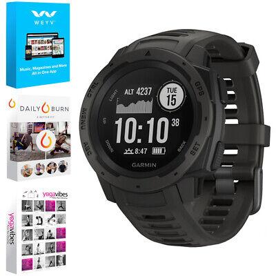 Garmin Instinct Rugged Outdoor Watch w/ GPS Graphite + Fitness & Wellness Suite