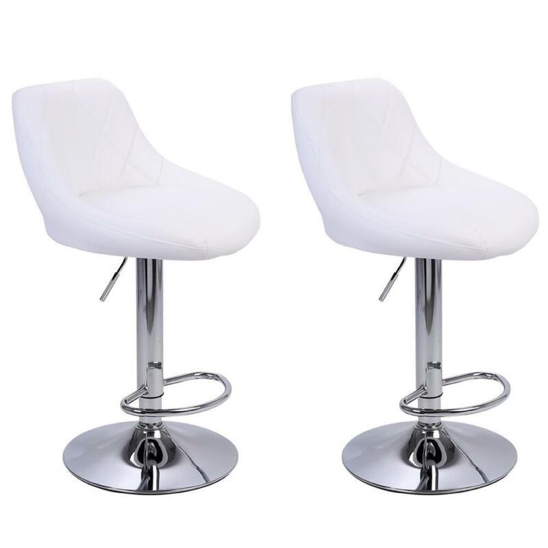 2PCS Bar Stools Leather Modern Hydraulic Swivel Pub Chair Barstool White Color