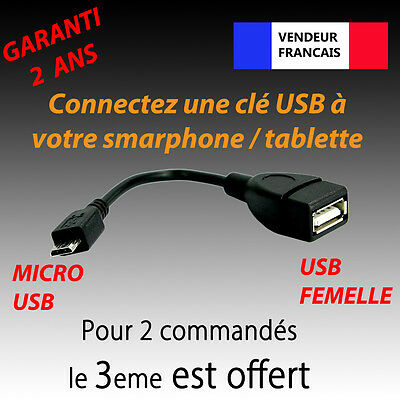 CABLE / ADAPTATEUR HOST OTG USB A FEMELLE VERS USB MICRO-B MALE...
