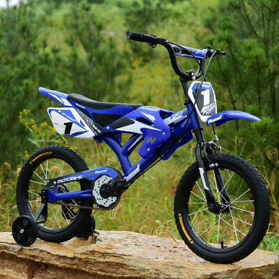 CHILDREN KIDS BOYS GIRLS MOTO BIKE BICYCLE REMOVABLE STABILISERS 16 INCH BLUE