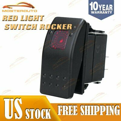 Marine Boat Trailer Rv Rocker Switch On-off Spst 3 Pin 1 Red Led Auto Motorcycle