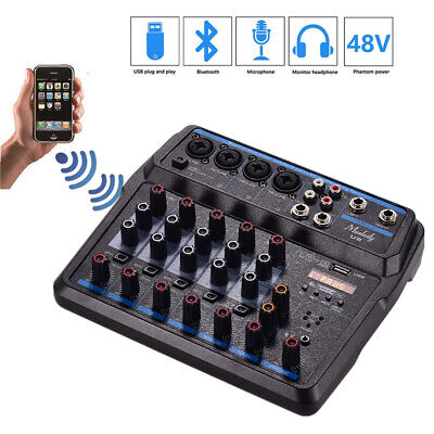 6 Channels Audio Mixers BT USB Mixing Console with Sound Card 48V Phantom g G4D8