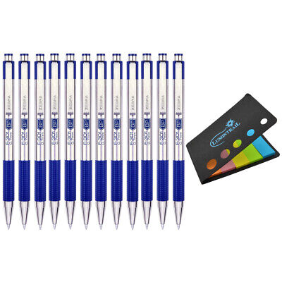 Zebra F-301 Steel Retractable Ballpoint Pen 0.7mm Blue 12 Ct W Sticky Notes