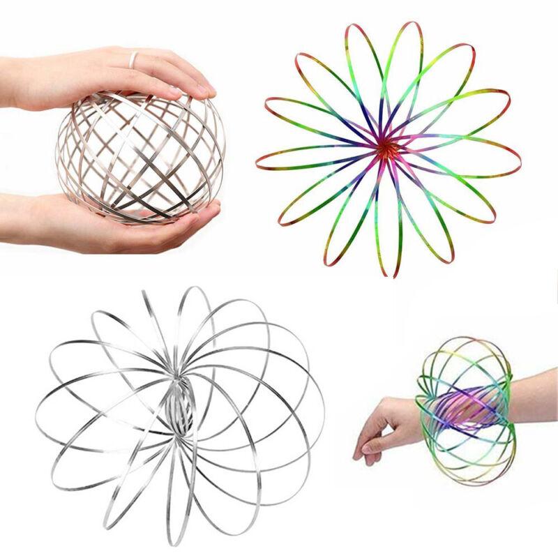 3D Magic Toy Arm Slinky Toroflux Flippy Flux Flow Ring Spinner Dynamic Bracelet# Classic Toys