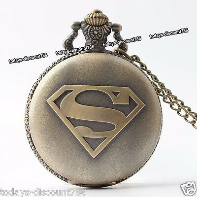 GIFTS FOR HIM Superman Pocket Watch Necklaces Xmas Birthday Men Husband Dad Son