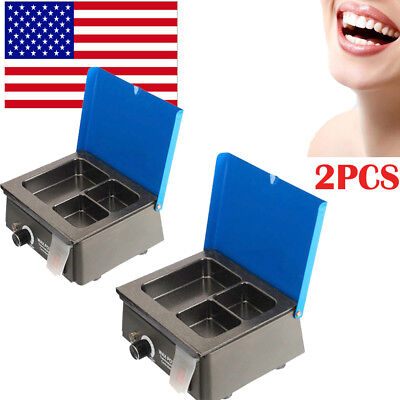 2x Dental 3 Well Analog Wax Melting Dipping Pot Heater Melter Lab Equipment Sale