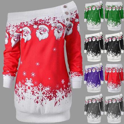 Womens Christmas Jumper Dress Xmas Santa Claus Off Shoulder Loose Fit Tops 8-24