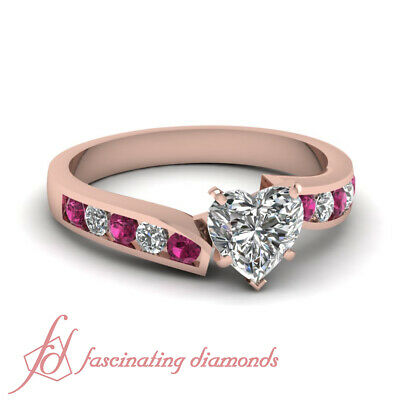 1 Ct Heart Shaped Channel Set Diamond And Sapphire Pink Gold Engagement