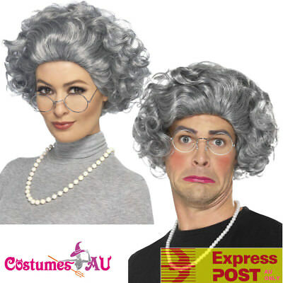 Granny Old Lady Grandma Grey Hair Wig Grandmother Wig Pearls Glasses Costume Kit (Grandmother Costume)
