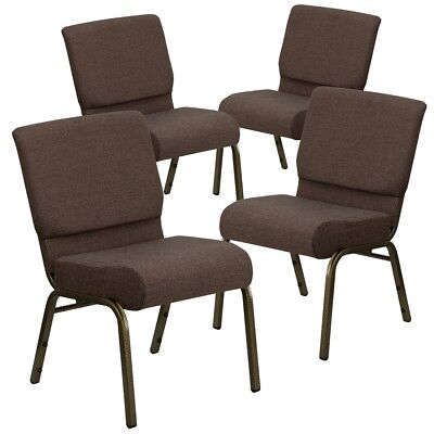 4 Pk. HERCULES Series 21'' Extra Wide Brown Fabric Stacking Church Chair...