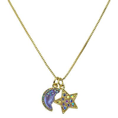 Kirks Folly Moon Shadow Goddess & Star Shimmer Charm Slide Necklace goldtone Goddess Star Necklace