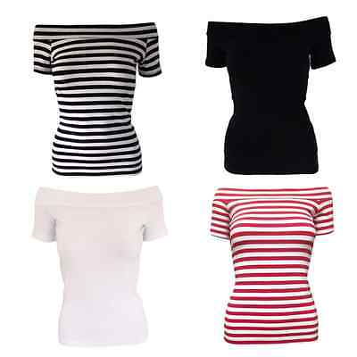 Ladies 50s Off The Shoulder BARDOT / GREASE STYLE Tops Pink Ladies FANCY DRESS - 50 Off Costumes