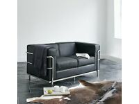 Wallace Sacks 2 Seater Sofa and matching Armchair in Black Leather