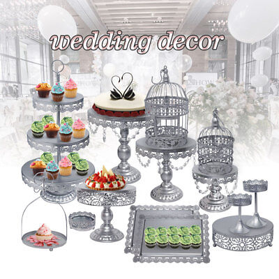 14pcs Crystal Silver Metal Cake Holder Party Cupcake Stand Wedding Plates Set US - Silver Cupcake Stand