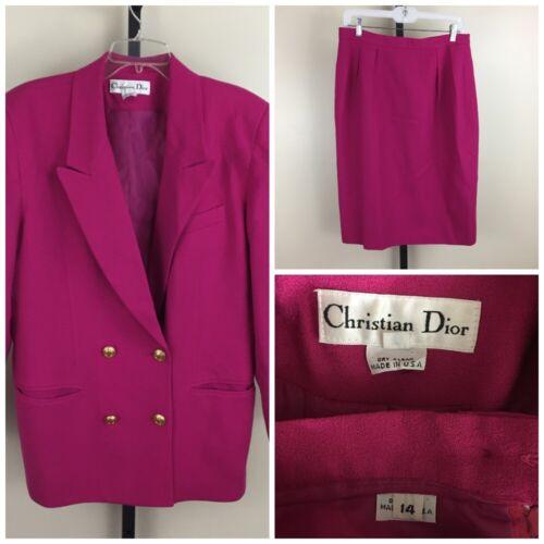 VINTAGE CHRISTIAN DIOR Sz 14 Fuschia Pink 100% Pure Wool Blazer & Skirt Set