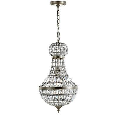 Vintage Crystal Pendant Chandelier Antique Brass Metal Finish Chic Home -