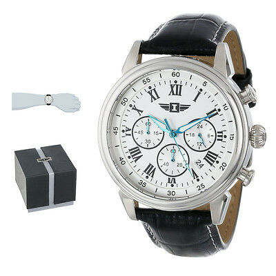 Mens Watch I By Invicta Stainless Steel With Black Leather Band Round 90242002