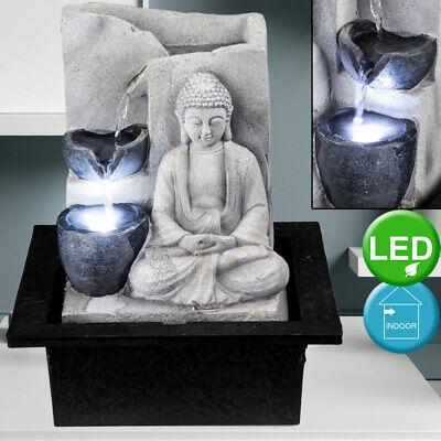 LED Tisch Spring Brunnen Buddha Wasser Spiel Feng Shui Wohn Raum Dekoration grau (Springbrunnen Buddha Wasser)