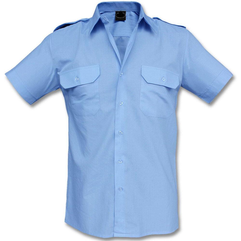 Feuerwehr Diensthemd Kurzarm, 1/2 Arm, hellblau, Uniformhemd, Pilotenhemd