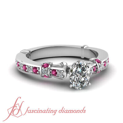 Pave Set Pink Diamonds - Pink Sapphire And Diamond Rings Pave Set GIA Certified Oval Shape Center 0.75 Ct
