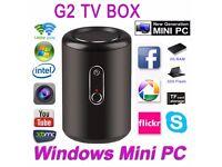 TV Box Mini PC Intel Windows 10 Win Pro G2 Quad Core Bluetooth WiFi 2MP Black