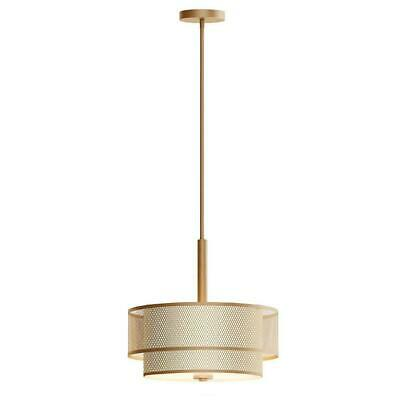 Home Decorators Collection 3-Light Modern Matte Gold Pendant with Fabric -