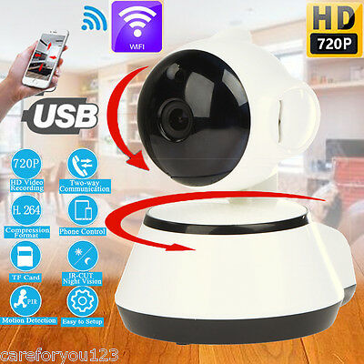Wireless WiFi USB Baby Monitor Alarm Home Security IP Camera HD 720P Audio IR