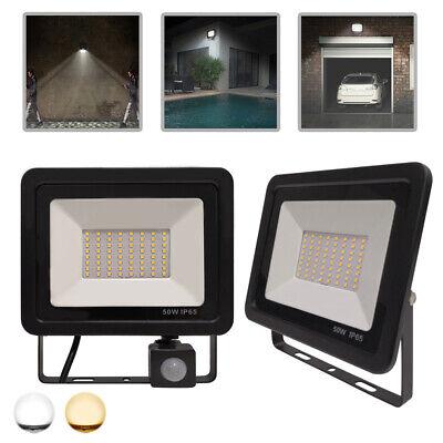 50W LED Fluter Flutlicht Scheinwerfer Außenlampe mit Bewegungsmelder Sensor IP65 50 Sensor