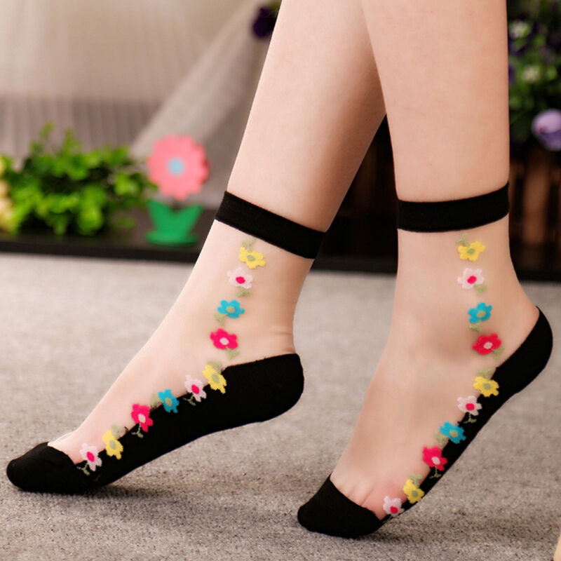 Dame//Frauen Crystal Lace Sock Rose Blume Seide kurze dünne transparente Socken