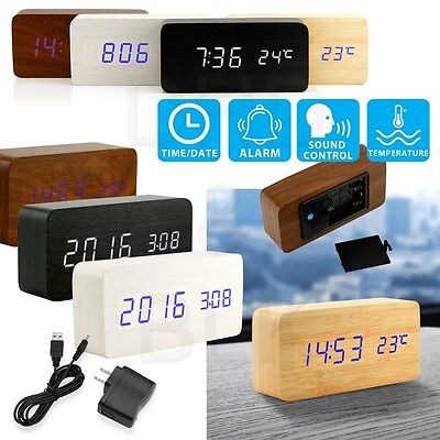 Modern Wooden Wood Usb Aaa Digital Led Alarm Clock Calendar Thermometer